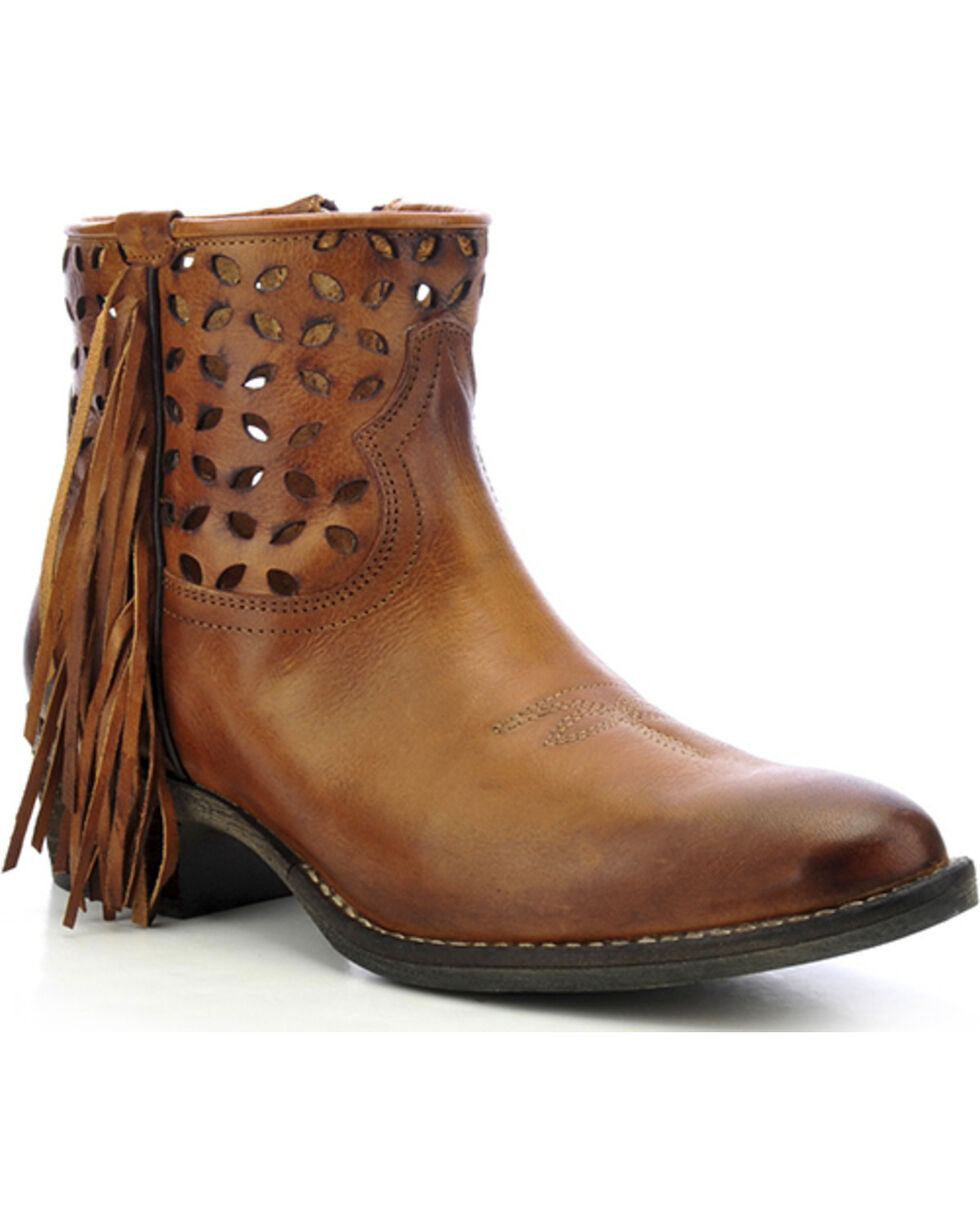 Circle G Fringe Cut-Out Ankle Boots - Pointed Toe, Tan, hi-res