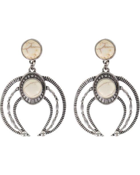Shyanne Women's Moonlight Engraved Earrings, Silver, hi-res