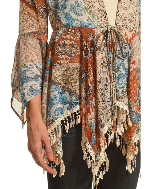 Young Essence Women's Feather Kimono, Multi, hi-res