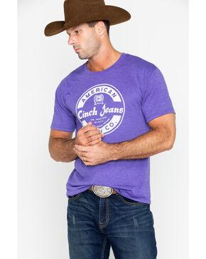 Cinch Men's Heathered Purple Short Sleeve Graphic Tee, Heather Purple, hi-res