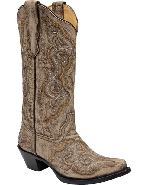 Corral Distressed Light Brown Cowgirl Boots - Snip Toe, Brown, hi-res