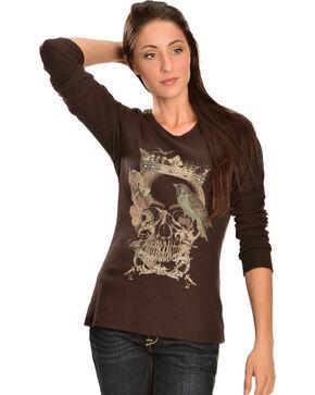 Ariat Women's Queen Slub Long Sleeve Tee Shirt, Brown, hi-res