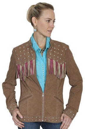 Scully Fringe Flag Lamb Suede Jacket, Brown, hi-res