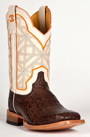 Cinch Men's Caiman Print Western Boots - Square Toe, Chocolate, hi-res