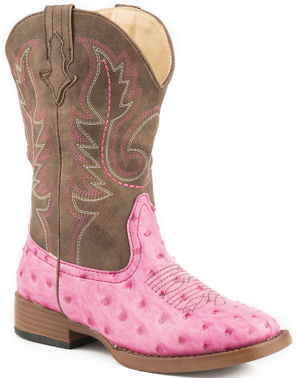 Roper Youth Girls' Pink Faux Ostrich Print Cowgirl boots - Square Toe, Pink, hi-res