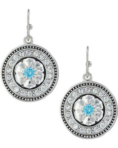 Montana Silversmiths Women's Brilliant Posy Medallion Earrings , Silver, hi-res