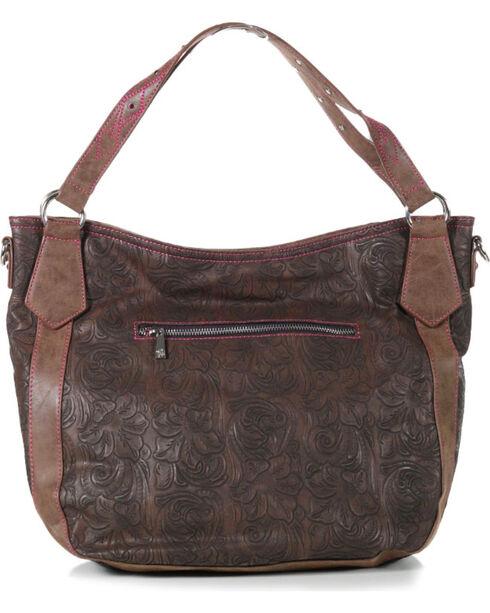 Catchfly Women's Paige Hobo Shoulder Bag, Brown/pink, hi-res