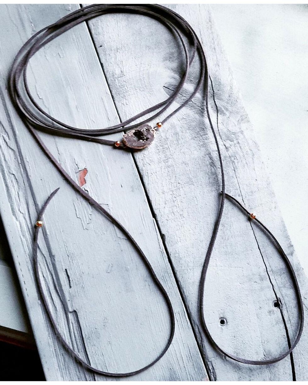 Jewelry Junkie Women's Gray Druzy Wrap-Around Choker Necklace , Grey, hi-res