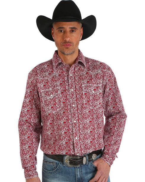 Wrangler Men's 20X Advanced Comfort Paisley Print Shirt , Red, hi-res