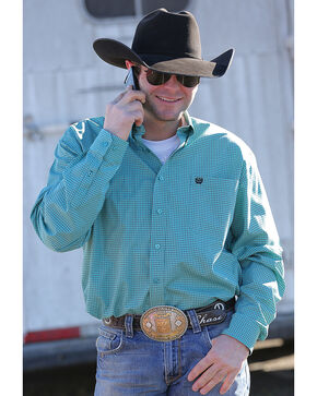 Cinch Men's Classic Fit Teal Printed Plain Weave Long Sleeve Button Down Shirt, Teal, hi-res
