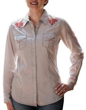Ryan Michael Women's Railroad Stripe Western Shirt, Blue, hi-res