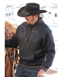 Cinch Men's Fleece Raglan Logo Hoodie, Black, hi-res