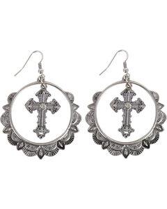 Shyanne Women's Cross & Hoop Western Earrings , Silver, hi-res