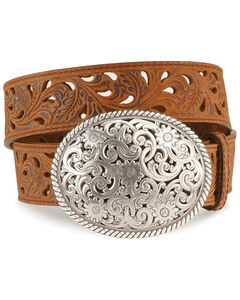 Tony Lama Floral Cutout Leather Belt, , hi-res