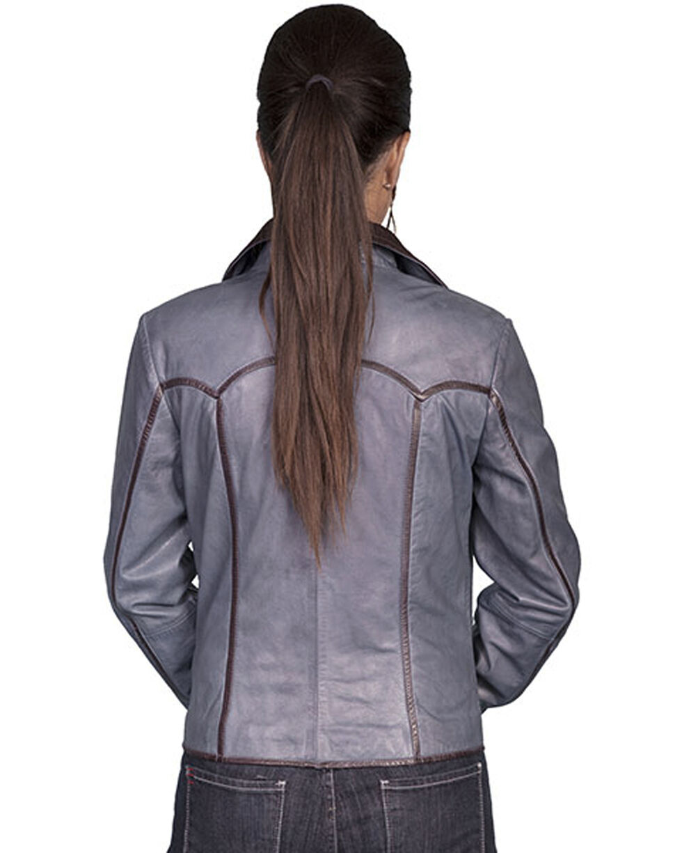 Scully Women's Blue Lamb Leather Jacket, Blue, hi-res