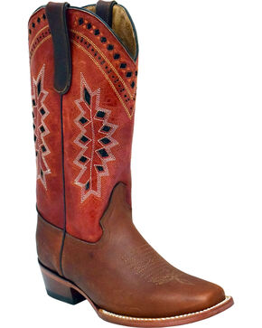 Ferrini Women's Apache Embroidered Western Boots - Square Toe , Dark Brown, hi-res