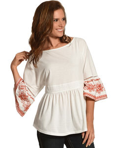 Polagram Women's Embroidered Ruffle Hem Top , White, hi-res