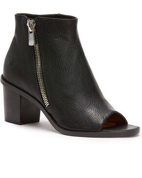 Frye Women's Black Brielle Zip Peep Booties - Round Toe , Black, hi-res