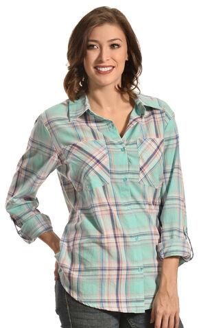 New Direction Sport Women's Pastel Plaid Two Pocket Western Shirt , Plaid, hi-res