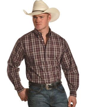 Wrangler Men's Burgundy Rugged Wear Wrinkle Resistant Plaid Shirt - Big & Tall , , hi-res