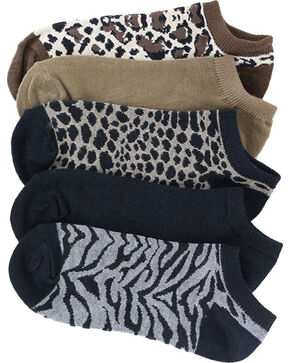 K.Bell Women's Heather Animal Print No-Show Socks - 6 Pairs , Multi, hi-res
