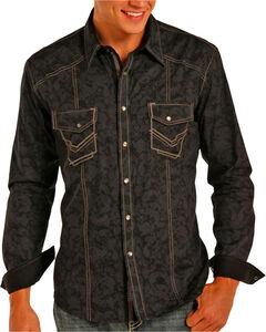 Rock & Roll Cowboy Men's Black Paisley Stitched Long Sleeve Shirt , Black, hi-res
