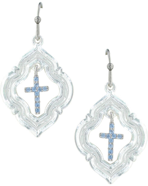 Montana Silversmiths Women's Looking Through To Faith Cross Earrings , Silver, hi-res