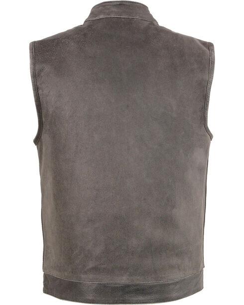 Milwaukee Leather Men's Grey Open Neck Club Style Concealed Vest - 5X, Grey, hi-res