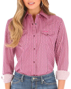 Wrangler Women's Tough Enough to Wear Pink Long Sleeve Shirt, Pink, hi-res