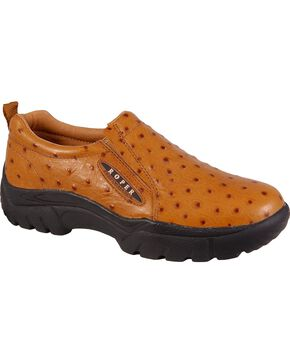 Roper Performance Slip-On Ostrich Print Casual Shoes - Wide, Tan, hi-res