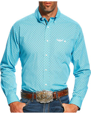 Ariat Men's Teal Limitless Print Long Sleeve Shirt , Teal, hi-res