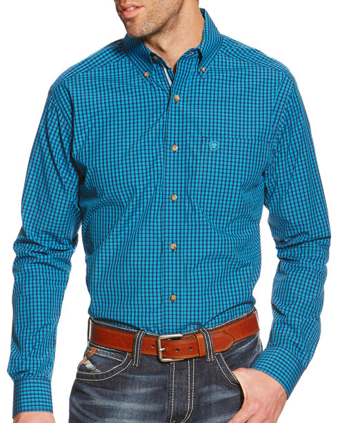 Ariat Men's Plaid Pro Series Waverly Performance Shirt, Teal, hi-res
