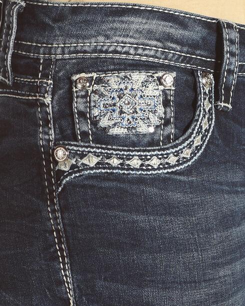 Grace in LA Women's Blue Aztec Pocket Easy Fit Jeans - Boot Cut , Blue, hi-res