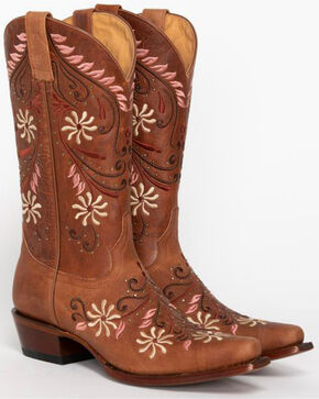 Shyanne Women's Studded Floral Western Boots - Snip Toe, Brown, hi-res