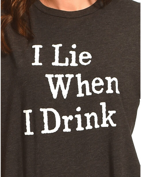 Cowgirl Justice Women's I Lie When I Drink Tee , Black, hi-res