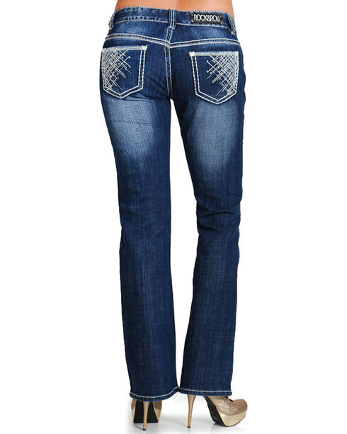Rock & Roll Cowgirl Women's Dark Wash Low Rise Boot Cut Jean, Blue, hi-res