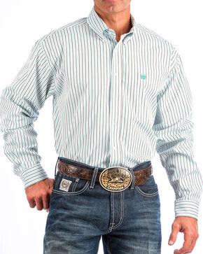 Cinch Men's White Striped Long Sleeve Button Down Shirt, White, hi-res