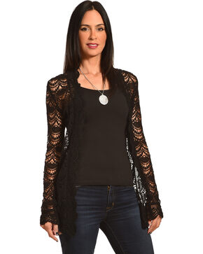 Young Essence Women's Long Sleeve Lace Cardigan , Black, hi-res
