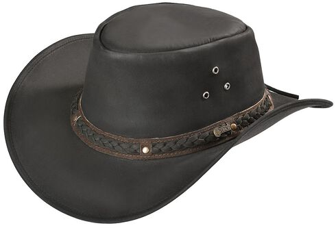 Outback Trading Co. Black Wagga Wagga UPF50 Sun Protection Leather Hat, Black, hi-res