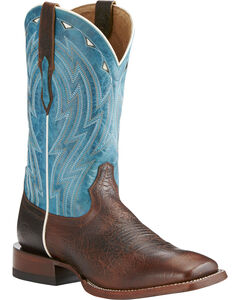 Ariat Men's Chocolate Cowtown Bullfrog Print Boots - Square Toe , Chocolate, hi-res