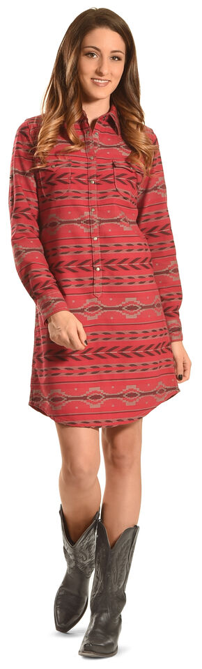 Ryan Michael Women's Beacon Blanket Shirt Dress , Ruby, hi-res