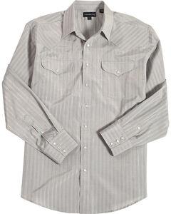 Panhandle Men's Grey Striped Print Western Shirt , Grey, hi-res