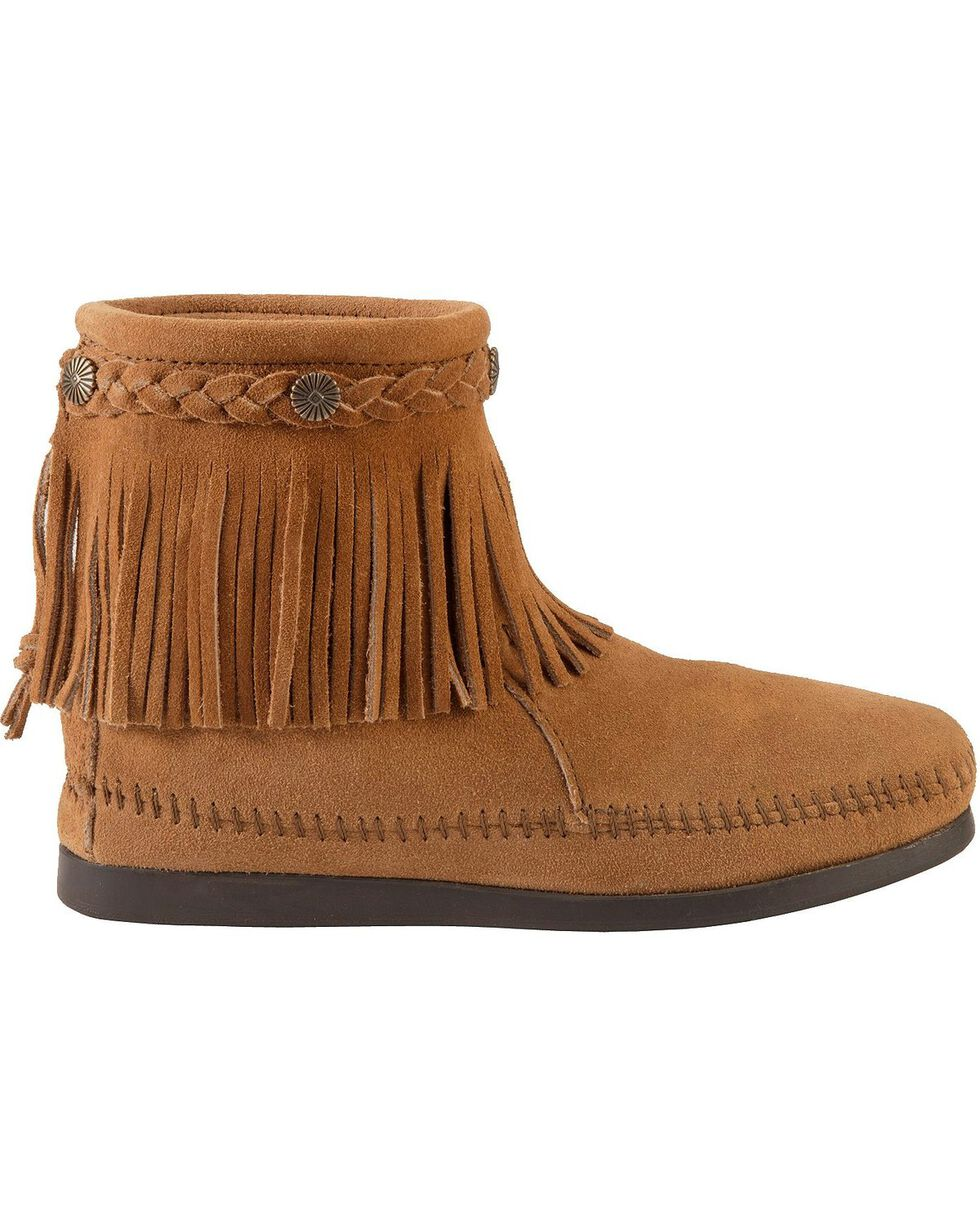 Minnetonka Back Zipper Ankle Moccasins, Taupe, hi-res
