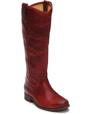 Frye Women's Burgundy Melissa Button Boots - Round Toe , Burgundy, hi-res