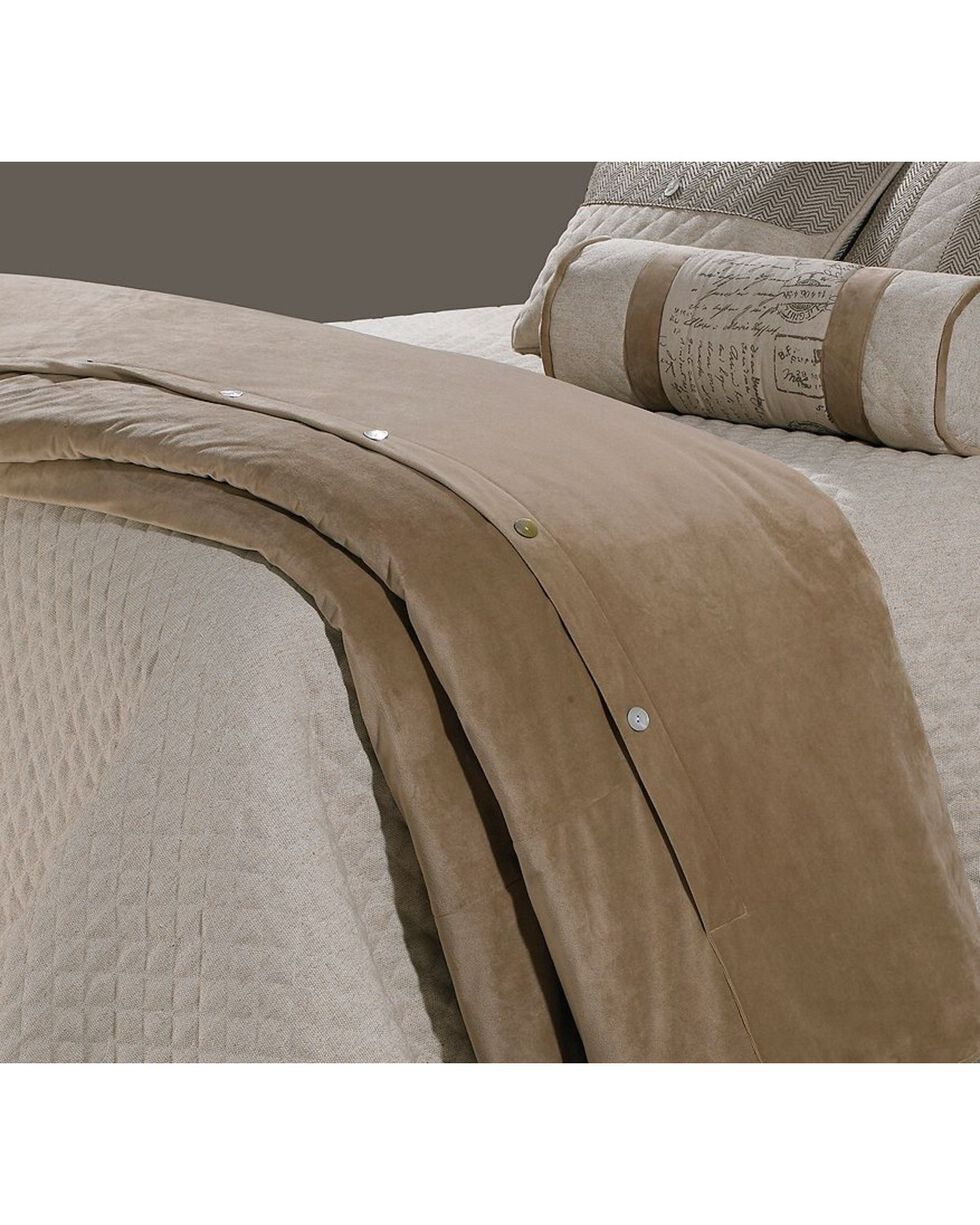 HiEnd Accents Queen Velvet Duvet Cover, Sand, hi-res