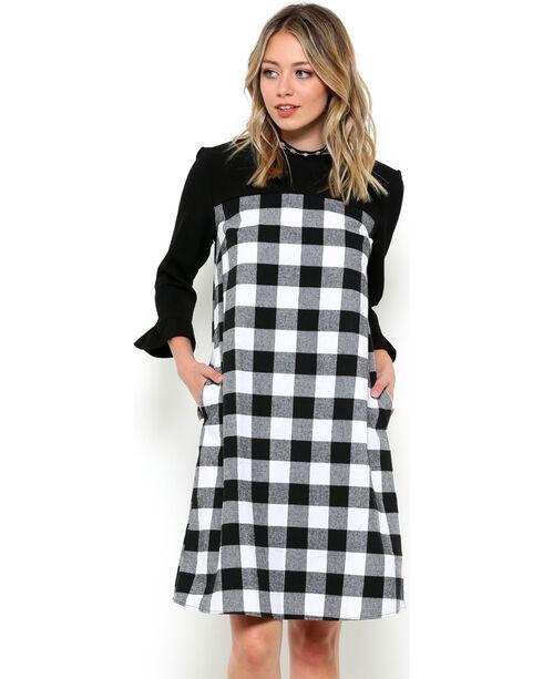 CES FEMME Women's Black Plaid Two Tone Dress , Black, hi-res