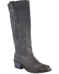 Corral Women's Cut Out Tall Top Boots - Round Toe, Black, hi-res