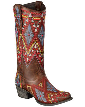 Lane Sunshine Aztec Embroidered Cowgirl Boots - Round Toe, Brown, hi-res