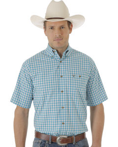Wrangler Men's Turquoise & White Plaid 20X Short Sleeve Shirt , Turquoise, hi-res
