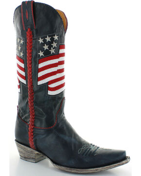 Old Gringo Women's Eleanor Beaded Flag Cowgirl Boots - Snip Toe , Blue, hi-res